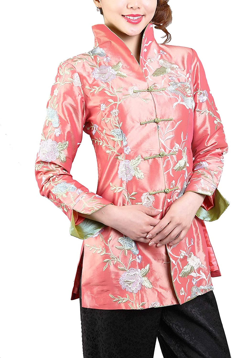 Womens Embroidered Floral Split Cuff Chinese Jacket