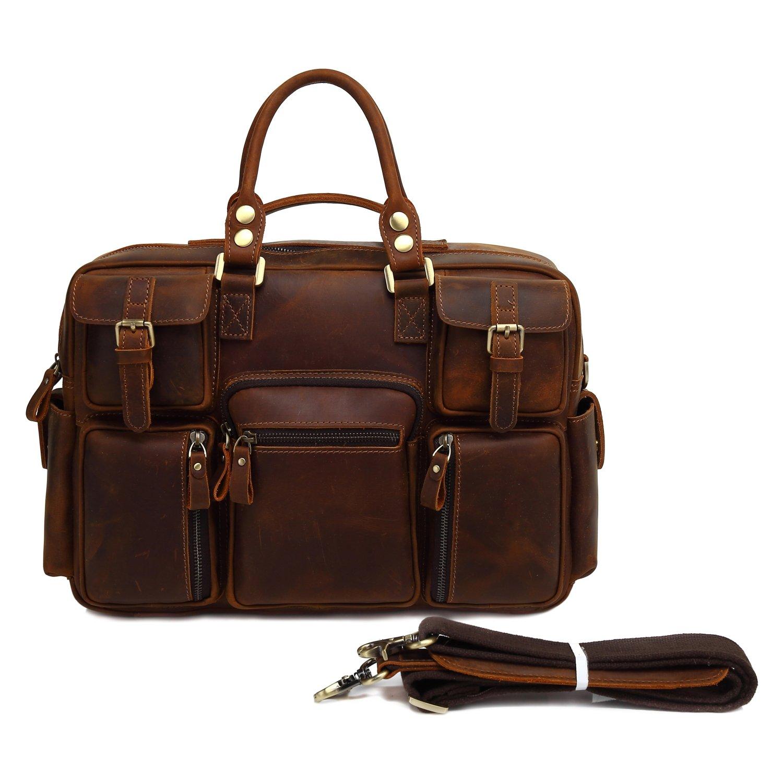 Kenox 17'' Genuine Leather Business Briefcase Large Satchel Messenger Bag for Men