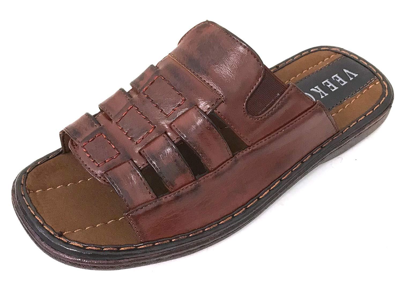 G4U-Veeko VL-8821 Men's Sandals Open Toe Slide Casual Fisherman Summer Flip Flops Shoes (12 D(M) US, Brown-8821)