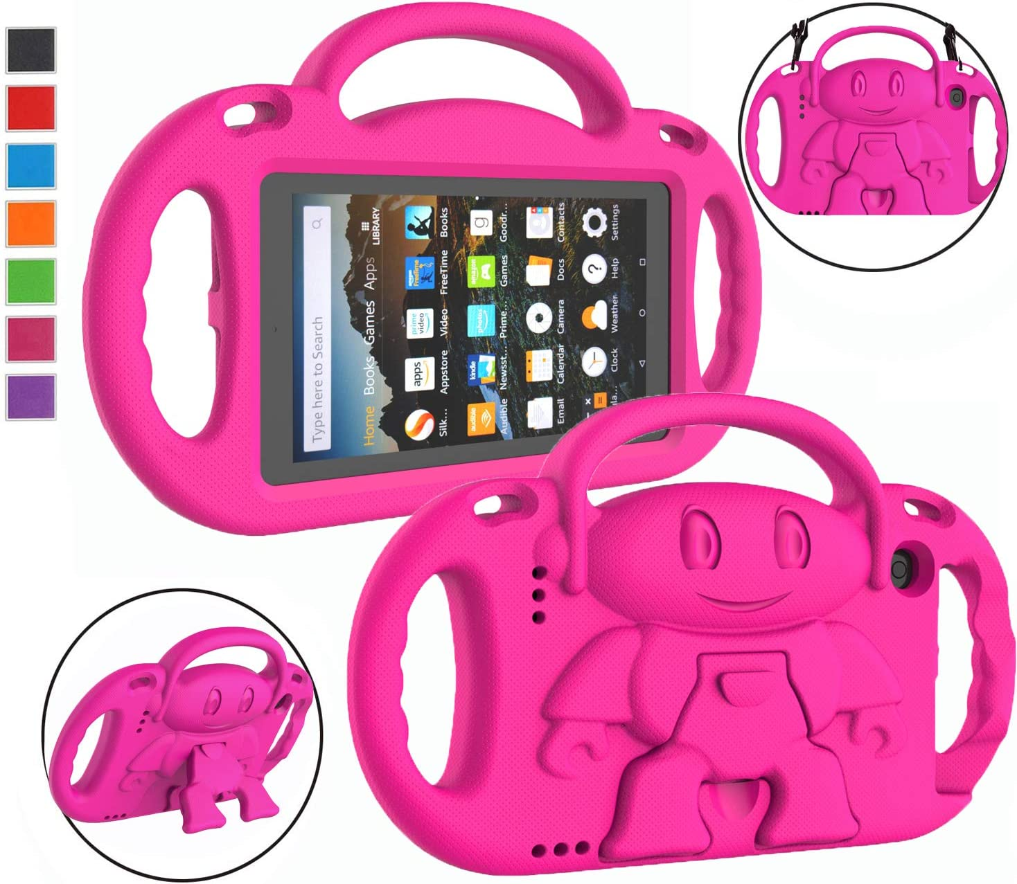 LTROP Kids Case for Amazon Kindle Fire 7 Tablet (9th Generation - 2019 Release) - Shockproof Handle Friendly Kids Stand Case with Shoulder Strap for All-New Amazon Fire 7 2019 & 2017 (7 Inch Display) - Rose
