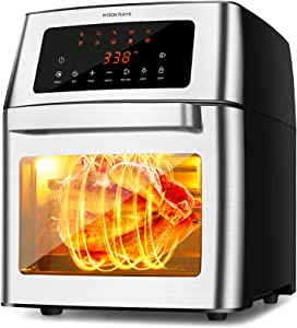 Air Fryer Toaster Oven Combo 16 Quart, Countertop Convection Roaster with 10-in-1 Smart Cook Presets, Rotisserie, Dehydrator, Rolling & Lock Function, 4 Accessories, Auto Shut Off (16Quarts/16L)