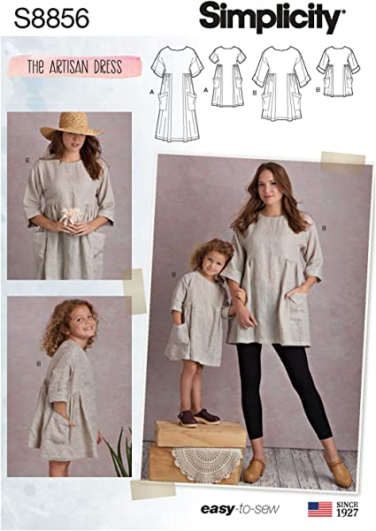 Simplicity US8856A Pattern S8856 Childs and Misses Dress and Tunic A 3-8//XS-XL