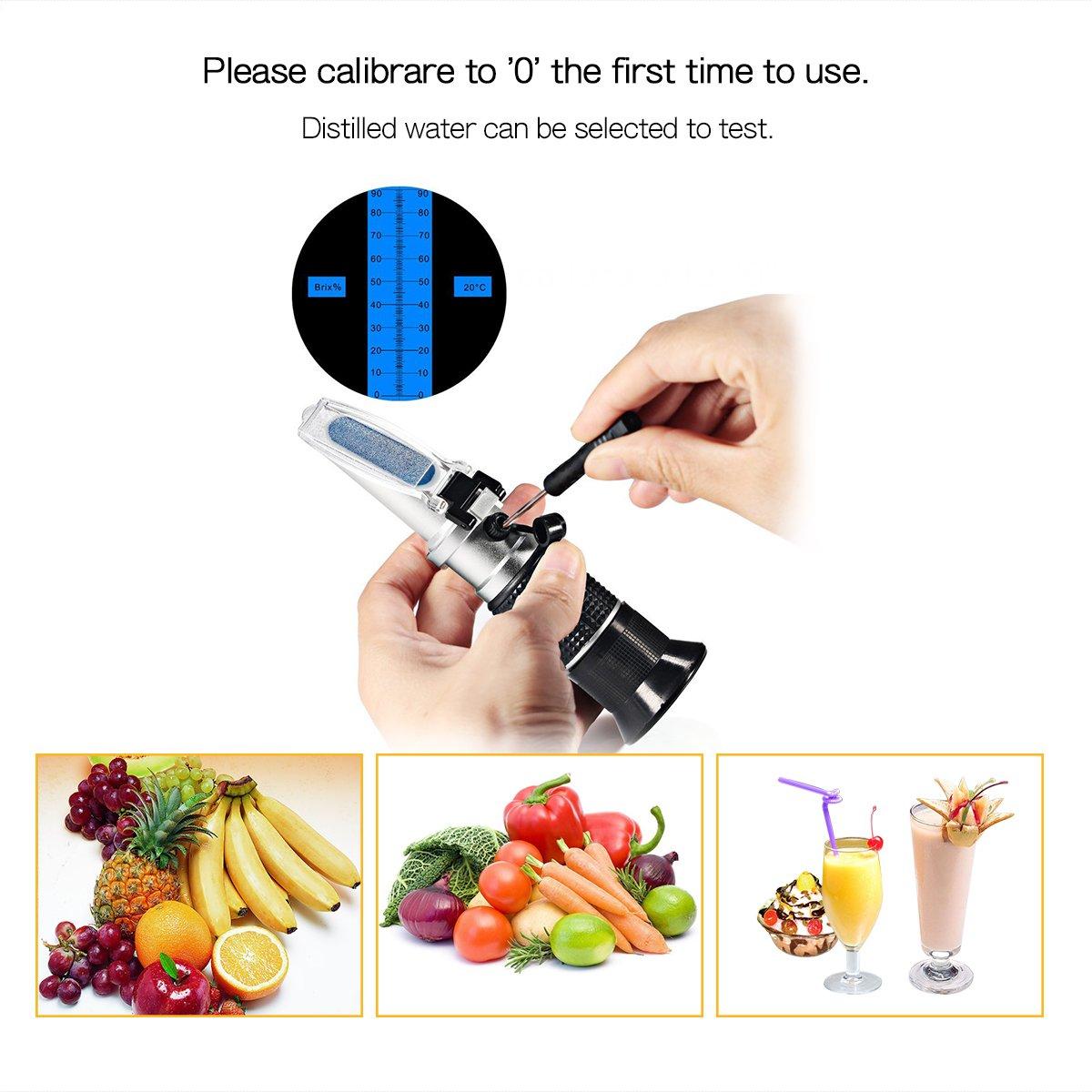 Obst Honig Refraktometer zur Messung des Zuckeranteils mit ATC Handrefraktometer f/ür Zucker Wein Lebensmittel Getr/änke Bier 0-90% Iitrust Zuckergehalt Refraktometer