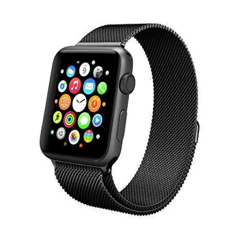 Amazon.com: Yutior Milanese Loop Stainless Steel Replacement iWatch Band with Magnetic Closure Clasp for Apple Watch Sport & Edition 38MM - Black: Cell ...