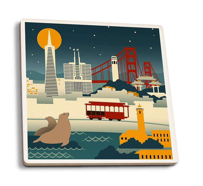 サンフランシスコ、カリフォルニア - レトロスカイリング。 4 Coaster Set LANT-80757-CT B072PZC8HV  4 Coaster Set