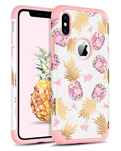 quite nice 2e1e5 8a18e BENTOBEN Phone Case for iPhone Xs(2018)/iPhone X/10, Pretty Pineapple Phone  Case, Heavy Duty Dual Layer Hard PC Cover Soft Silicone Bumper Protective  ...