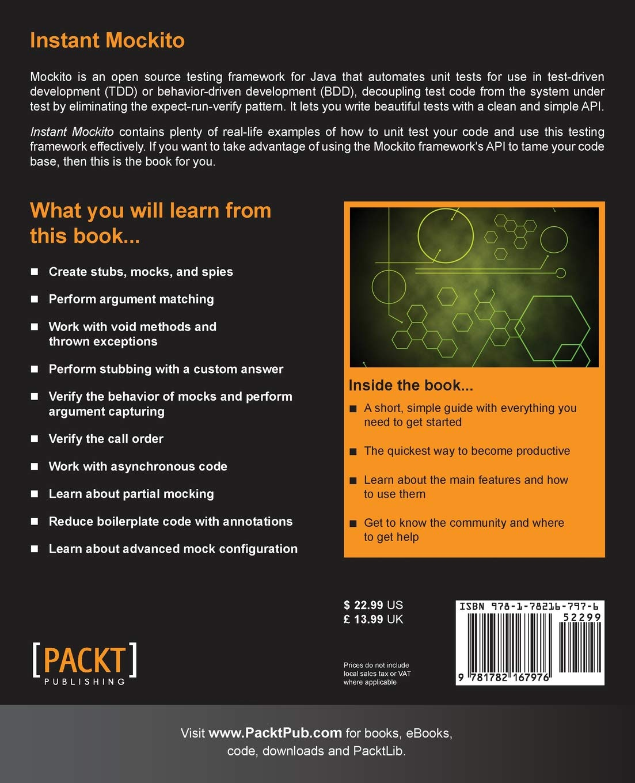 Instant Mockito: Marcin Grzejszczak: 9781782167976: Amazon com: Books
