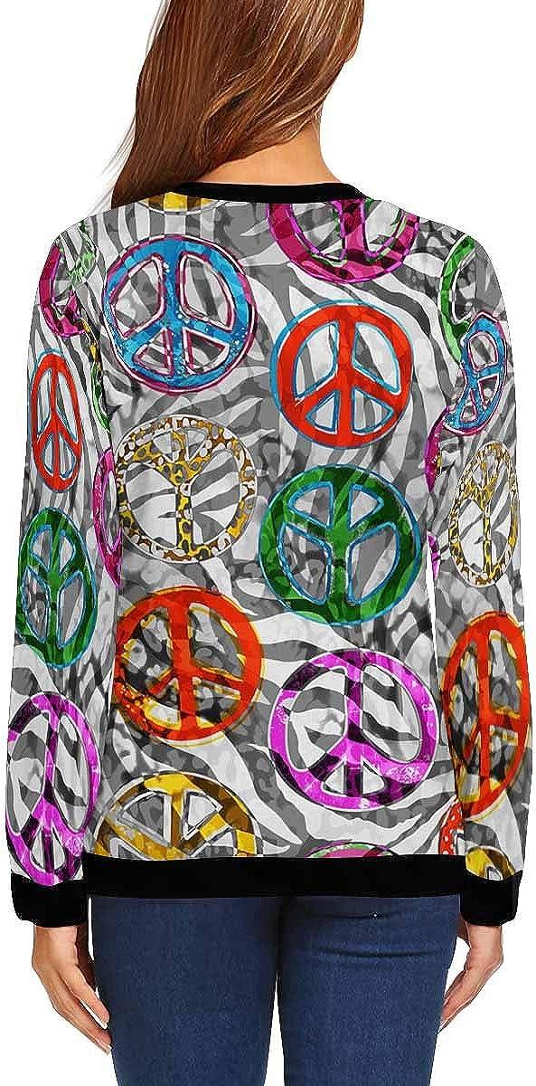 INTERESTPRINT Womens Casual Pullover Tops Peace Signs Zebra Long Sleeve Sweatshirt XS-XL