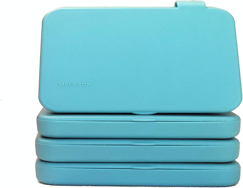 ECODEPIL Porta mascarillas para Niños - Pack de 4 Estuches - Caja para mascarillas Reutilizable- Ideal para Guardar Tus mascarillas- Protección asegurada Fácil de Limpiar- Color Turquesa