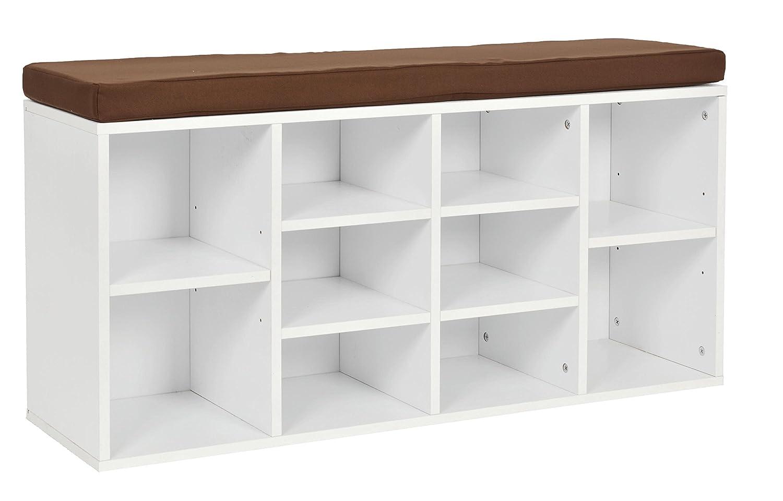 ts-ideen Panca Corridoio Scomparti Scarpe Bagno Scarpiera Bianco 103, 5 x 54 cm