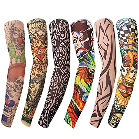 Professional Sale Anti-sunshine Fashion Men And Women Tattoo Arm Leg Sleeves High Elastic Nylon Halloween Party Dance Party Tattoo Sleeve Men's Arm Warmers Men's Accessories