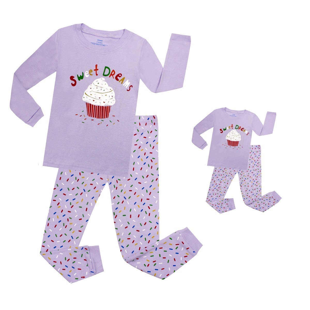 Elowel Cupcake Matching Girl & Doll 2 Piece Pajama Set 100% Cotton (Size 2-12 Years) Elowel Pajamas LFT1704B