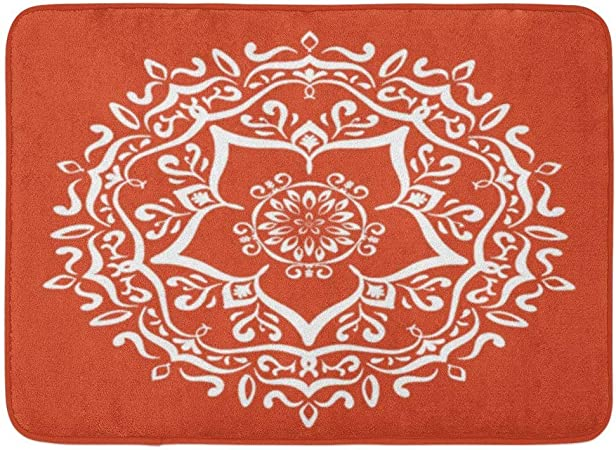 AoLismini Tapis de Bain Orange Henné Terre Cuite Mandala ...