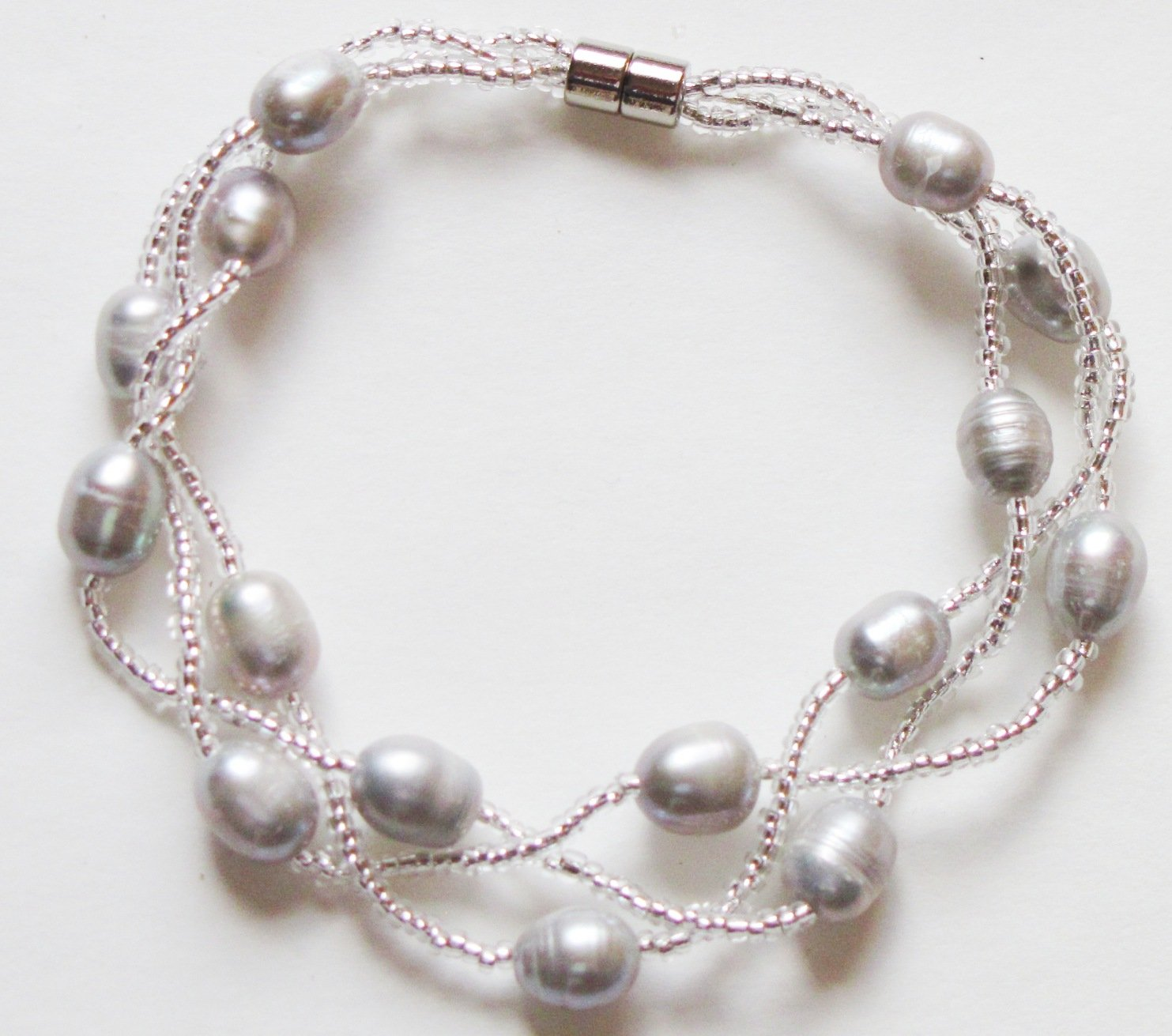 Magnetic Multi Strand Cultured Freshwater Pearls and Crystal Bracelet (Silver)