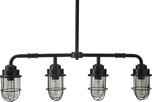 Stone Beam Jordan Industrial Farmhouse Ceiling 4-Pendant Cage Fixture With 4 Light Bulbs – 4.8 x 32 Inches, 17.5 – 46 Inch Cord, Black