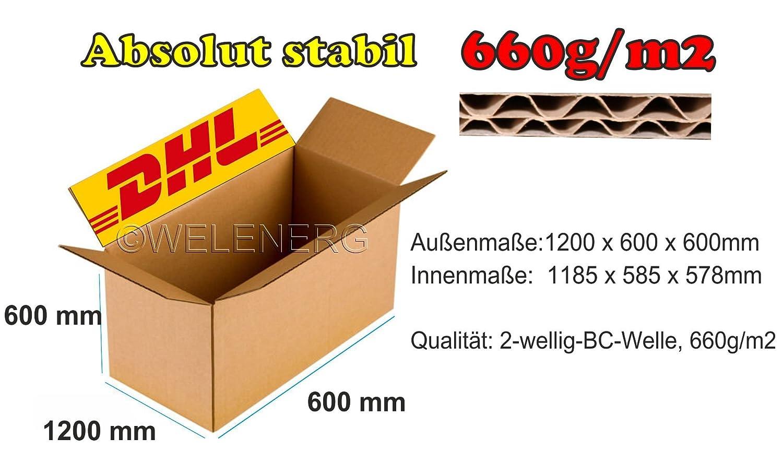 1 x La caja de cartón plegable 1200 x 600 x 600 mm Cajas de Cartón Post cartón 2 de onda BC de 620g: Amazon.es: Oficina y papelería