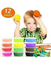 Arcilla Seca al Aire por Samione, 12 Colores Ultra Ligero No tóxico Arcilla de Modelado, DIY Modelado/Juguete educativo Playset arcilla mágica con herramientas, El mejor regalo para Niños