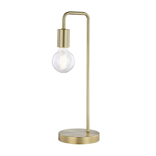 Light Society LS-T259-BB Fulton Brushed Brass Table Lamp with Exposed Bulb, Vintage Retro Industrial Modern Style