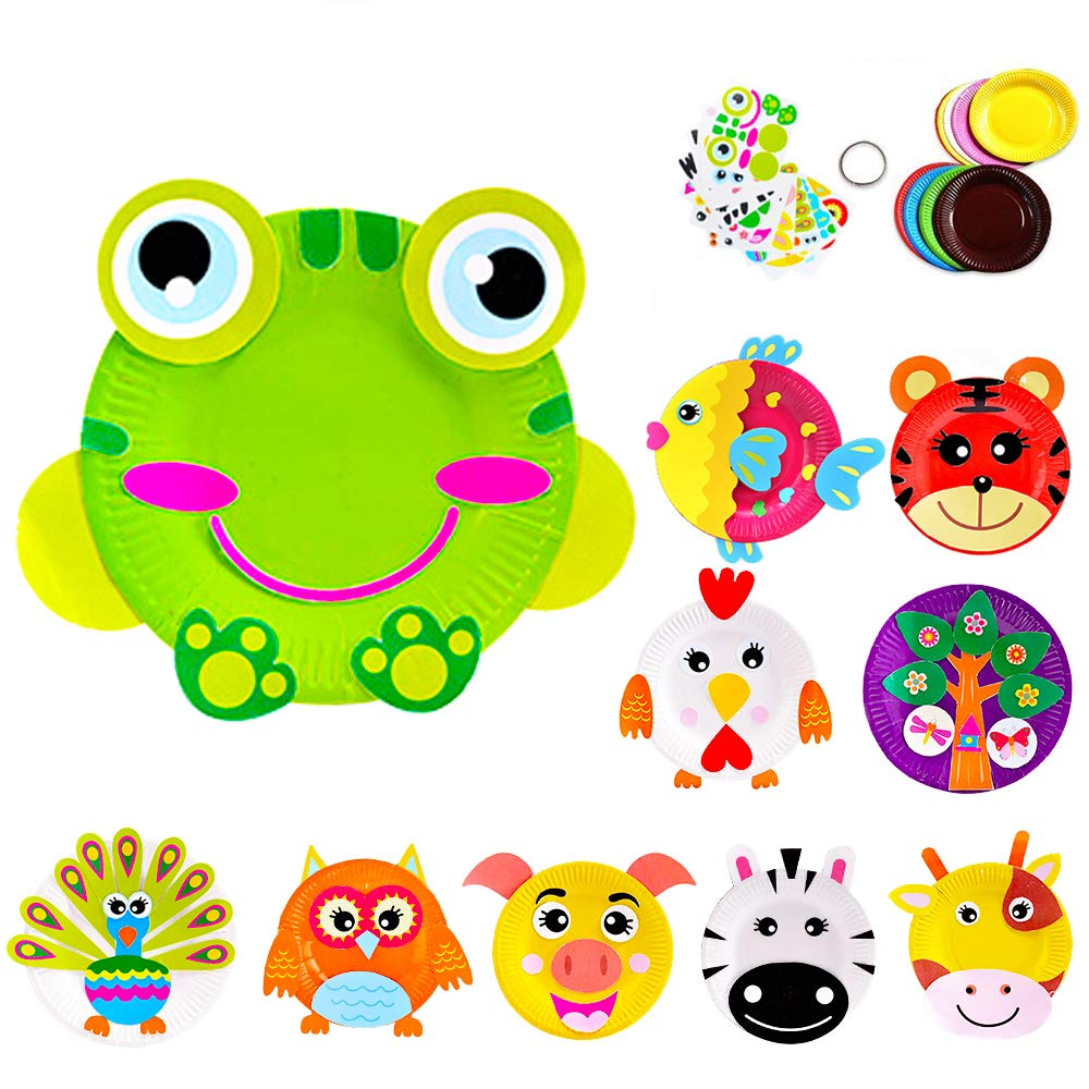 Here Fashion Paper Plate Craft Art kit Animal Paper Plate Crafts Set 10 pcs Preschool Learning Toys Pattern A by Here Fashion