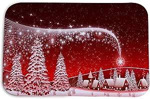 BESLIME Alfombra de Navidad Antideslizante Lavable Alfombra Franela Antideslizante Imprimir Alfombra para de baño, de Cocina, para el Pasillo, el salón Decor Floor Alfombra el hogar