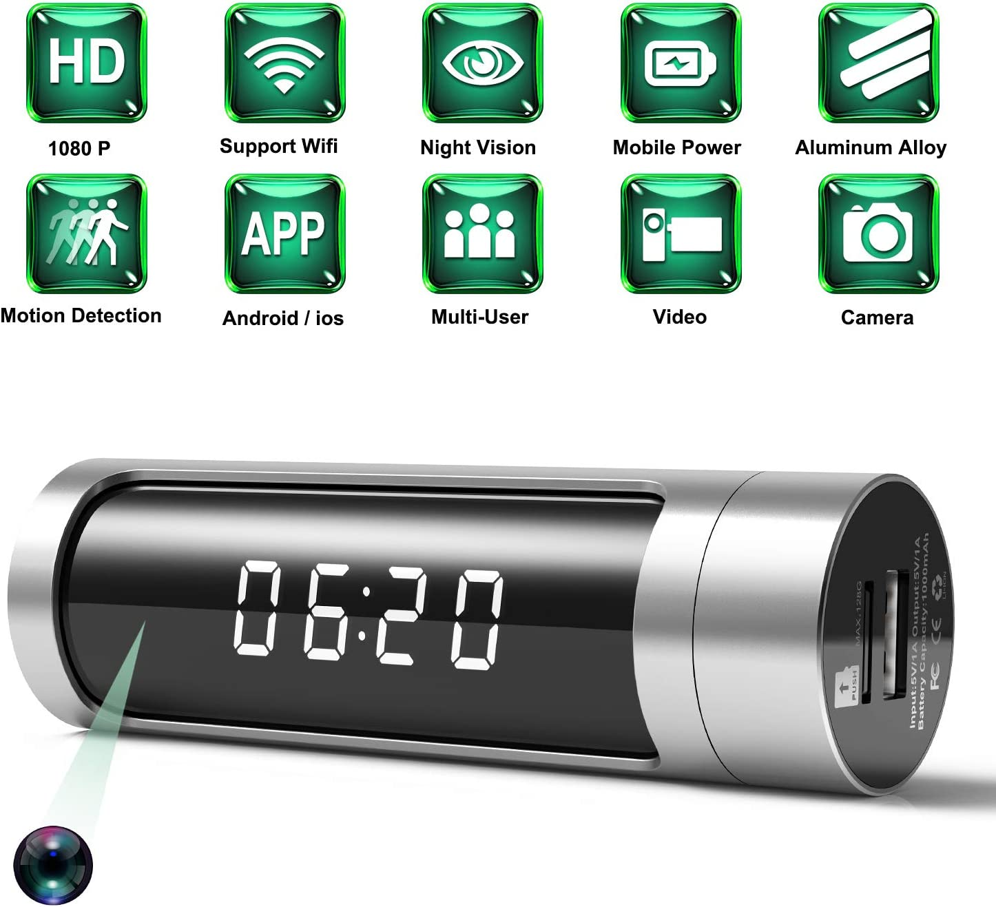 Spy Camera, 1080P Hidden Camera Clock WiFi Wireless IP Cameras Aluminium Alloys Housing Video Recorder for Home Security Monitoring Nanny Cam with Night Vision Motion Detection Power Bank Latest
