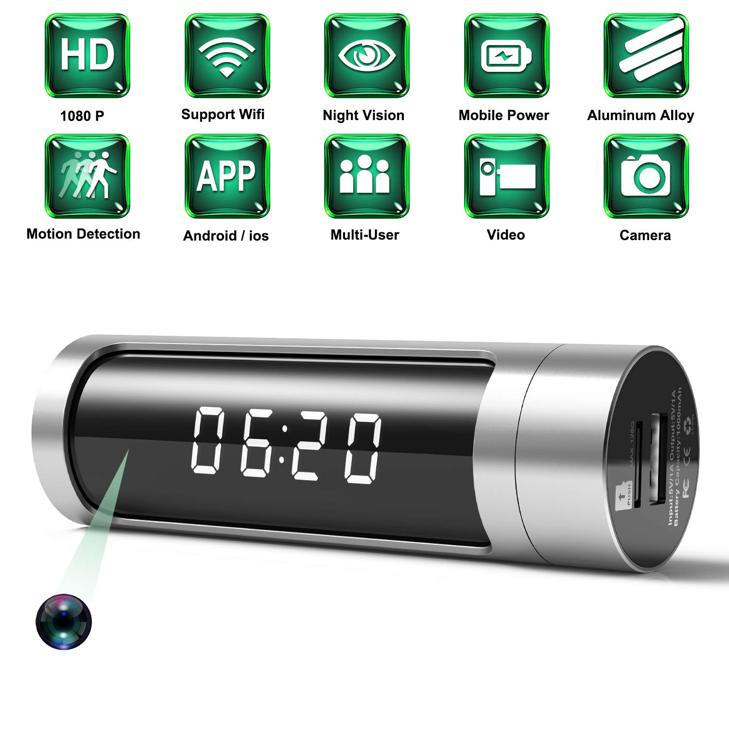 Spy Camera, 1080P Hidden Camera Clock WiFi Wireless IP Cameras Aluminium Alloys Housing Video Recorder for Home Security Monitoring Nanny Cam with Night Vision Motion Detection Power Bank(Latest) by ELValley