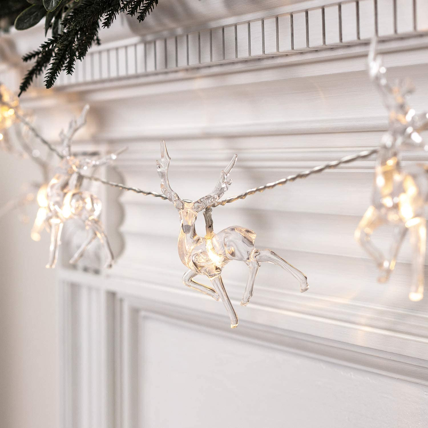 Lights4fun, Inc. 10 Warm White LED Reindeer Battery Operated Christmas String Lights