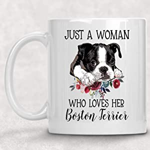 Just a Woman Who Loves her Boston Terrier Watercolor Floral Dog Lover Coffee Cup Mug