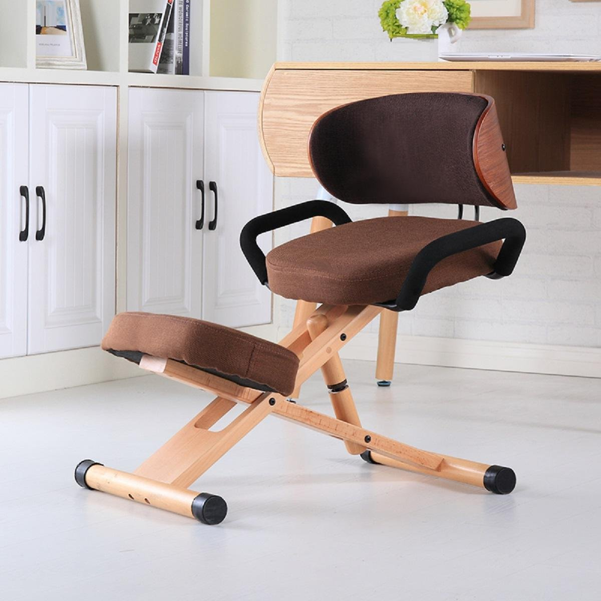 GAOJIAN Modern Ergonomic Kneeling Chair with Back and Handle Office Furniture Chair Height Adjustable Wood Office Kneeling Posture Chair by GAOJIAN