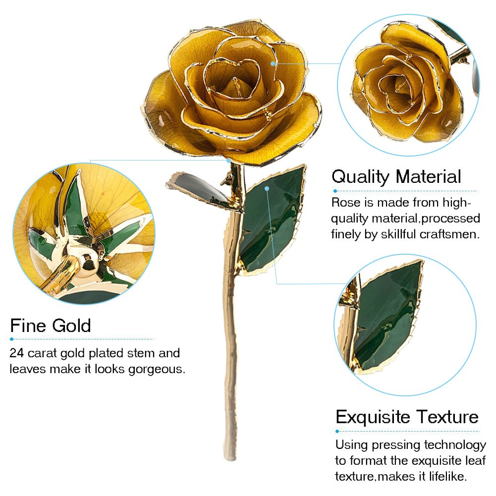 ZJchao Gifts for Women, Long Stem Dipped 24k Gold Trim Red Rose in Gold Gift Box with Stand Best Gift for Valentines/Mothers/Anniversary/Birthday/Galentine's Day(Yellow Rose with Stand) by ZJchao (Image #3)