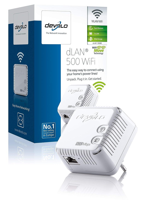 Devolo dLAN 500 WiFi - Adaptador de comunicación por línea eléctrica PLC (500 Mbps, 1 adaptador, 1 puerto LAN, repetidor WiFi, amplificador de señal WiFi, ...