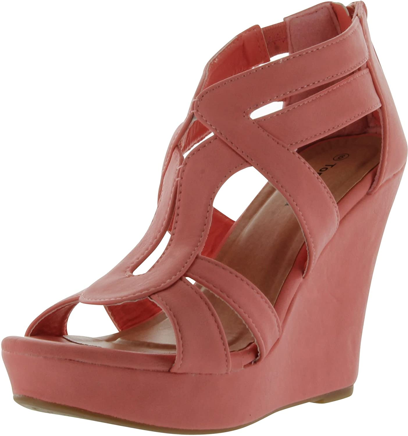 Lindy 03 Strappy Open Toe Platform Wedge B00DR0EO6G 9 B(M) US Coral Linen
