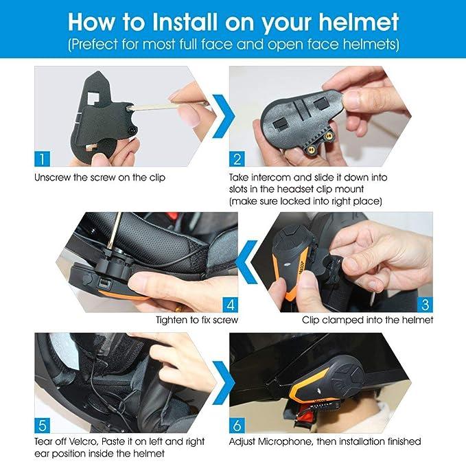 Amazon.com: Veetop - Casco de comunicación para motocicleta ...
