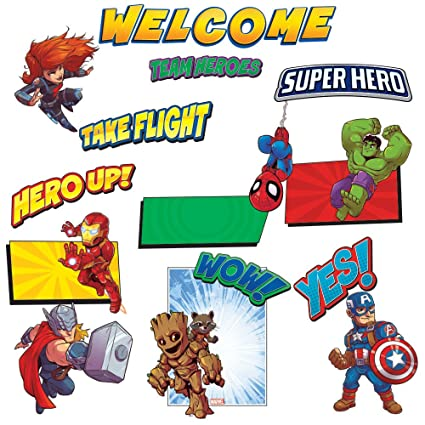 Eureka Back to School Marvel Avengers Superhero 'Welcome' Bulletin Board  and Classroom Decorations, 24 pc, 17'' W x 24'' L