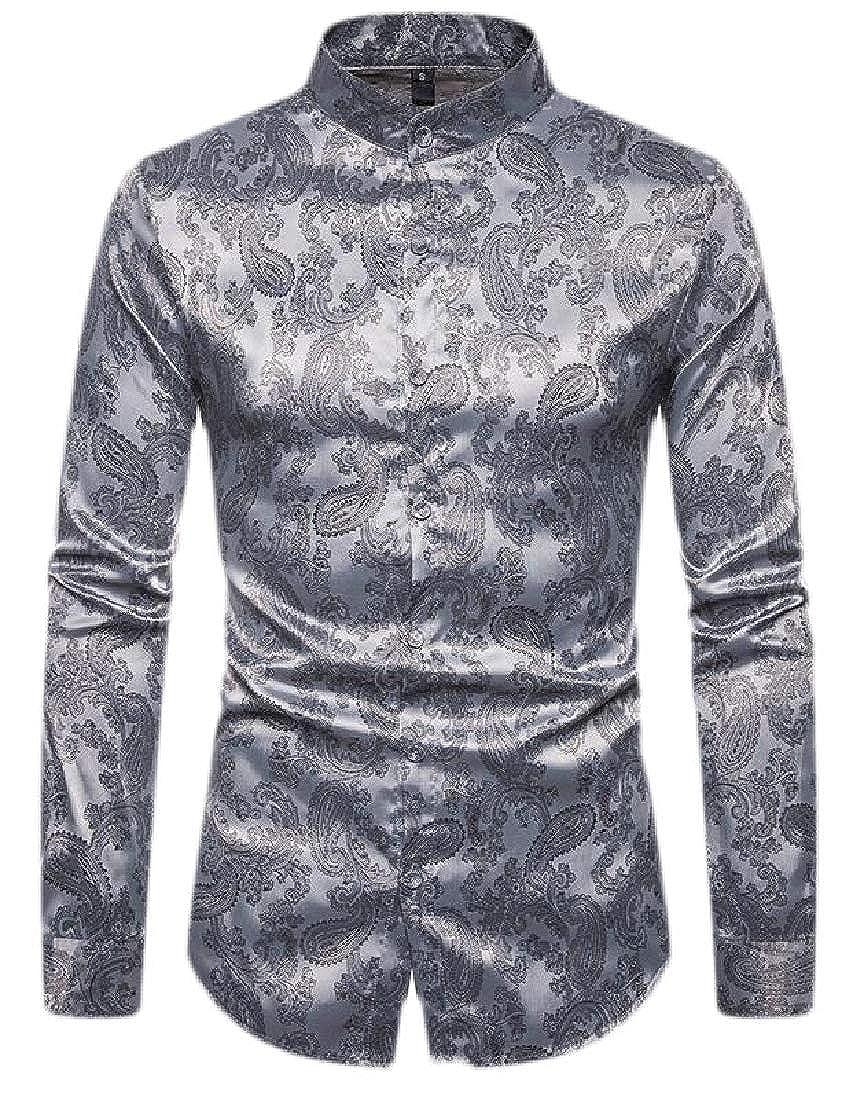 Macondoo Mens Slim Fit Long-Sleeve Casual Paisley Printed Shirts