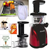 SlowStar Juicer + Accessory Pack3! + Folding Drain Rack + Nut Milk Bag + Juicing eBook,recipes + Cocodrill Coconut Tool + Citrus Peeler - Tribest Slow Juicer and Mincer, Model SW-2000