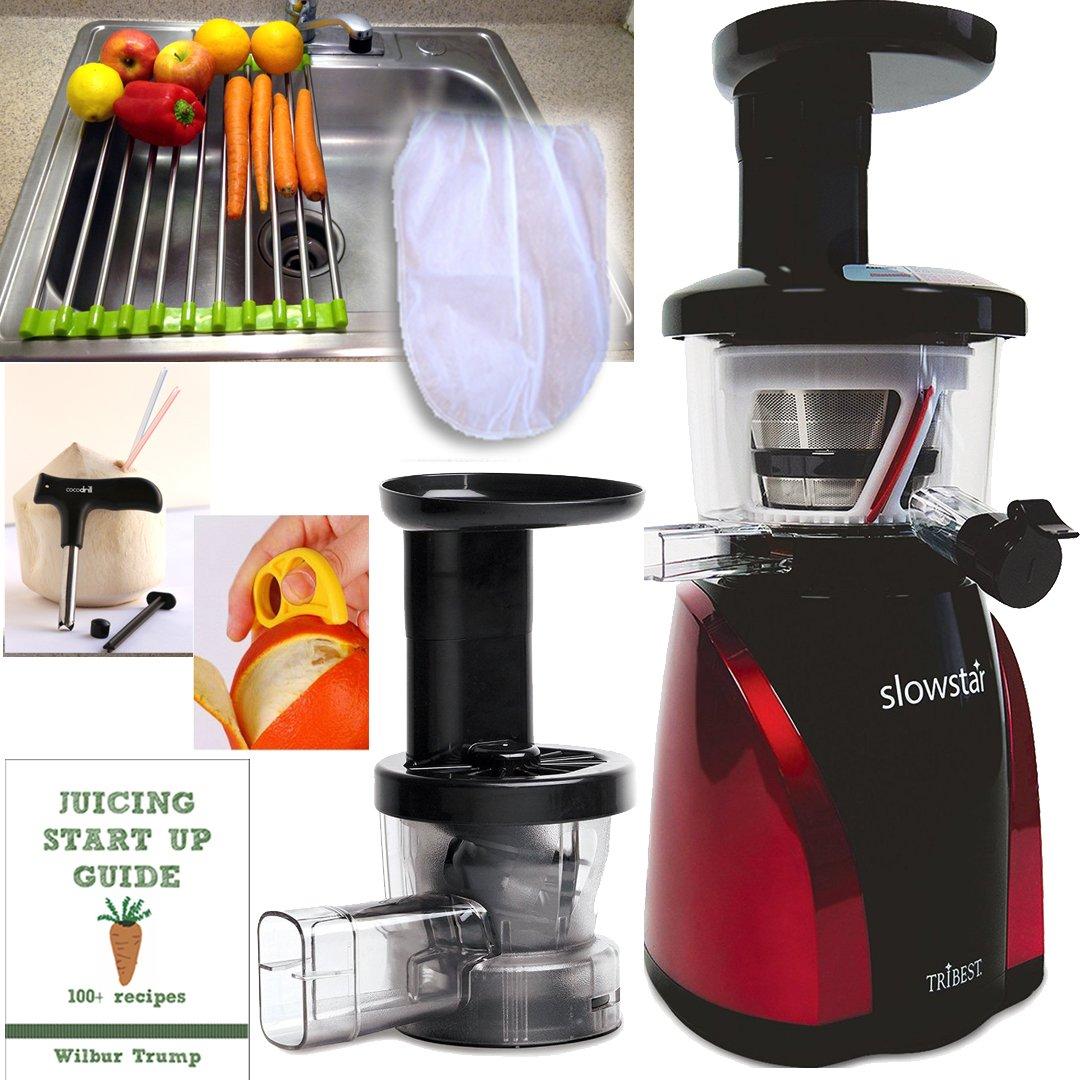 SlowStar Juicer + Accessory Pack3! + Folding Drain Rack + Nut Milk Bag + Juicing eBook,recipes + Cocodrill Coconut Tool + Citrus Peeler - Tribest Slow Juicer and Mincer, Model SW-2000