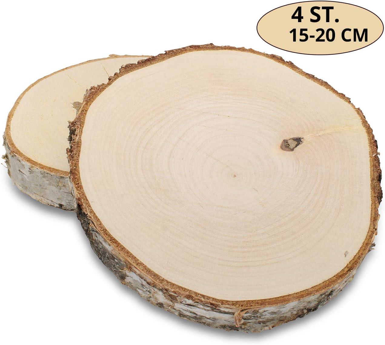 GREENHAUS XXL Birkenscheiben aus Deutschland 10-15 cm 4 St/ück geschliffen Holzscheiben Baumscheiben Baumstamm Holzdeko