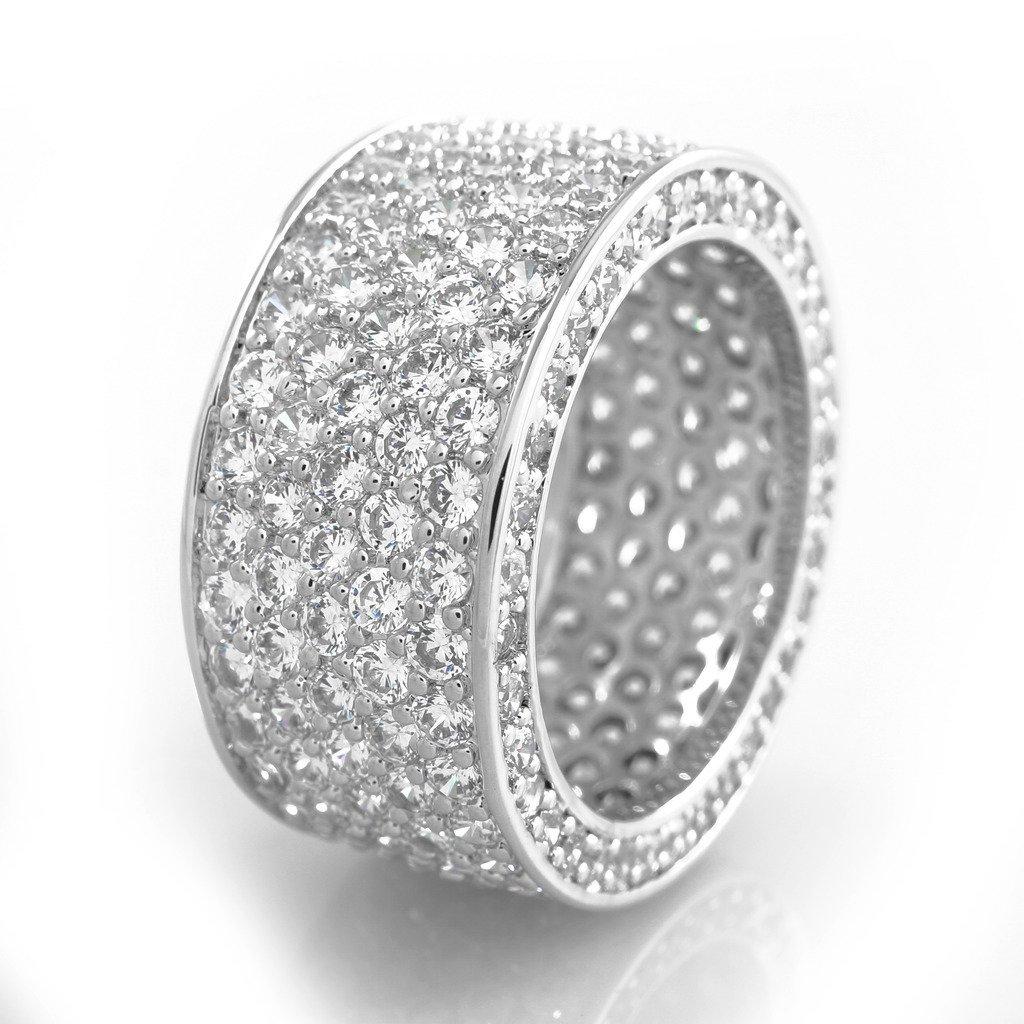 18K White Gold Plated 11mm CZ ETERNITY Ring Niv's Bling