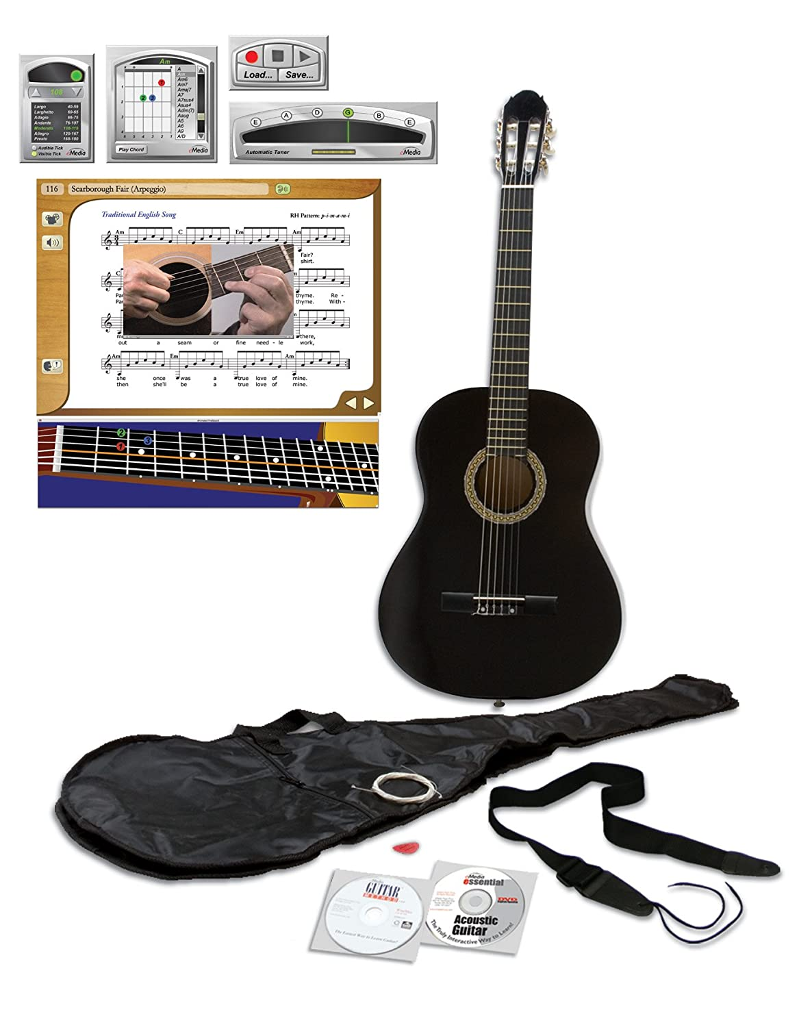eMedia Essential Guitar Pack, full-size, black EG04161