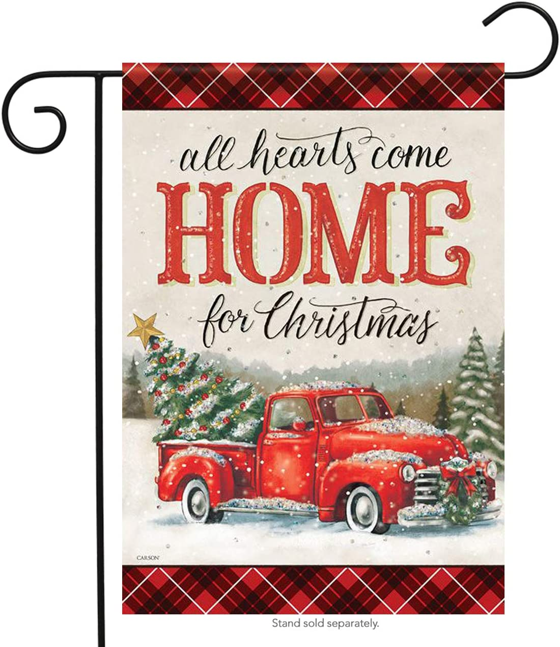 """12.5/"""" x 18/"""" /""""ALL HEARTS COME HOME FOR Christmas/"""" Yard Lawn Flag"""