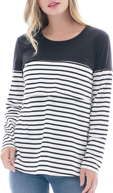 Smallshow Womens Maternity Long Sleeve Striped Nursing Tops