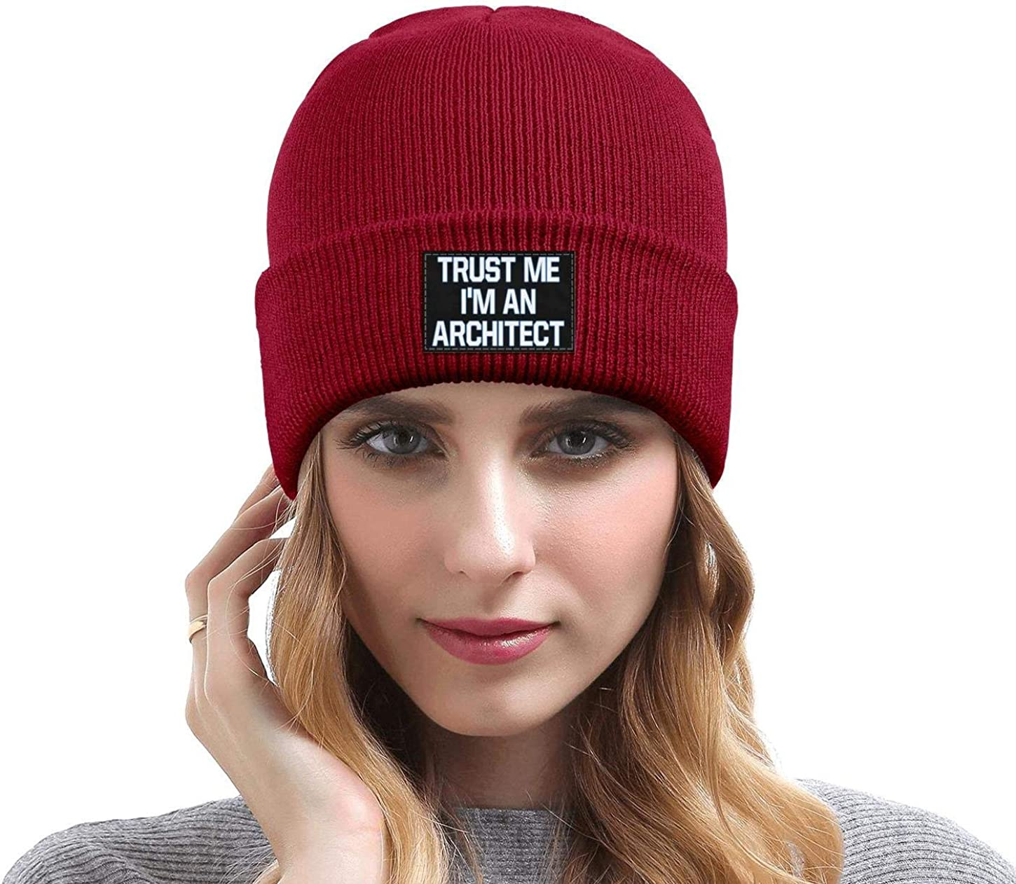 Trust Me Im an Architect Fine Knit Mens Womens Flat Brim Solid Color Slouchy Beanie Hat