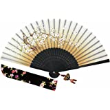 "Wise Bird Chinese Japanese Folding Hand Fan, Fashion Accessories Vintage Retro Style 8"" Bamboo/Wood/Sandalwood Fan, Silk Pocket Purse Fan, Wedding Favors, Home Decor with Sleeve/Embroidery Tassel-F462"