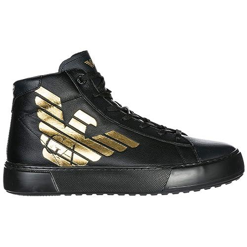Emporio Armani EA7 Scarpe Sneakers Alte Uomo in Pelle Nuove Nero   Amazon.it  Scarpe e borse f980d7816d0