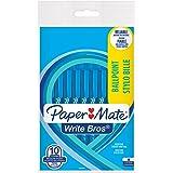 Paper Mate bianco penna a sfera a punta media 1.0mm–blu (confezione da 10)