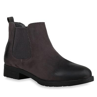 Damen Stiefeletten Chelsea Boots Freizeit Schuhe 145832 Schwarz Cabanas 38 Flandell DpiEgZp