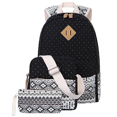Amazon.com: Canvas Backpack Cute School Backpack Casual Bookbags ...