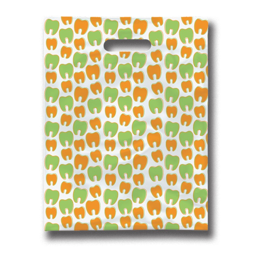 Practicon 11096123 Many Mini Molars Scatterprint Bag, 9'' x 12'' (Pack of 100)