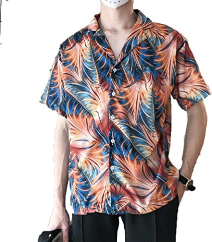Secret Night Hawaiian Beach Camisa floral fina de manga corta ...